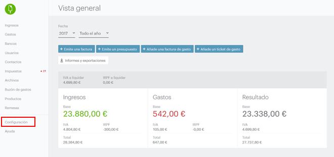 configuracion basica cuenta Quipu