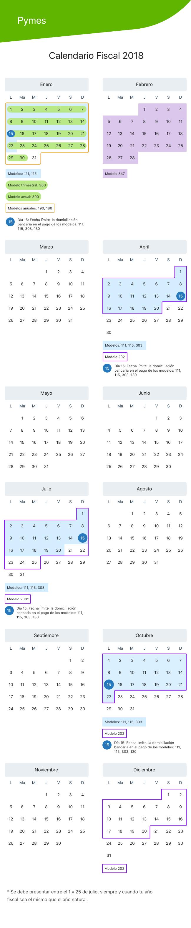 Calendario fiscal 2018 para empresas