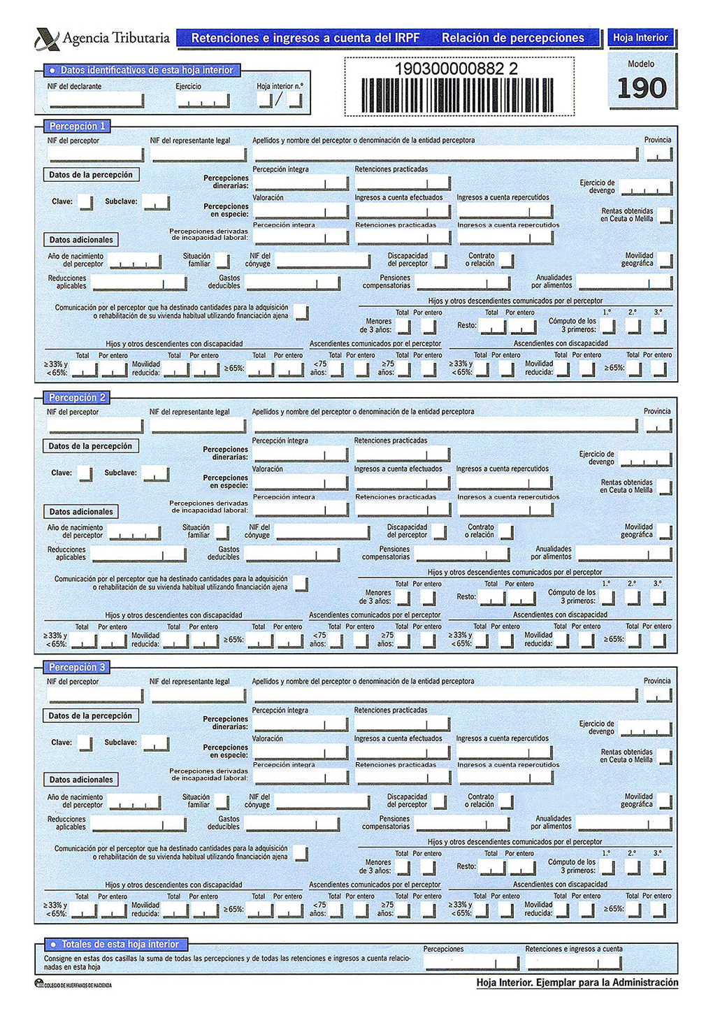 Cómo rellenar el modelo 190 de la agencia tributaria?