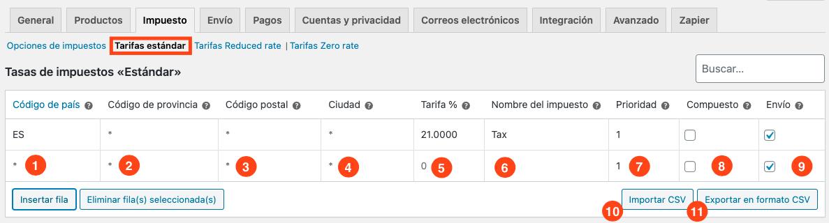 Configuración tarifas estándar WooCommerce