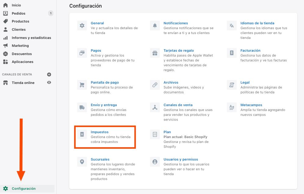 Configuración impuestos en Shopify