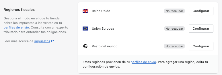 Regiones Fiscales Shopify