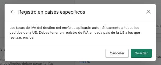 Registro en países específicos Shopify