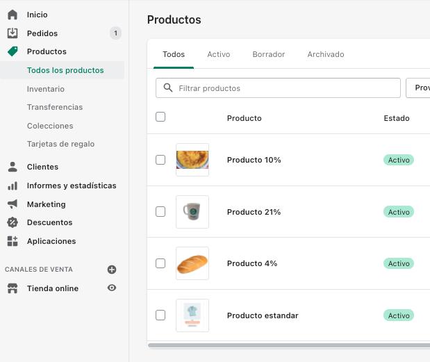 Productos Shopify